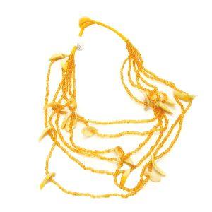 колие от мъниста и мидки жълт