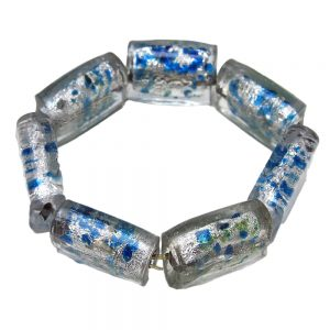 синьо бяла гривна стъклена