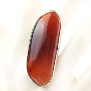 пръстен с кафяво червен ахат