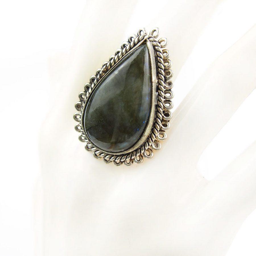 бохо пръстен с лабрадорит полускъпоченен камък с пламъкмм
