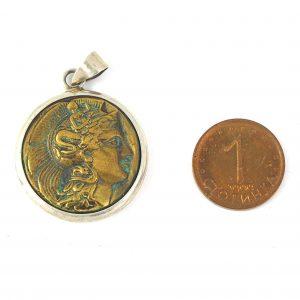 гръцка монета сребро 925 проба медальонм