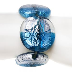 ефектна гривна с големи стъклени мъниста синя