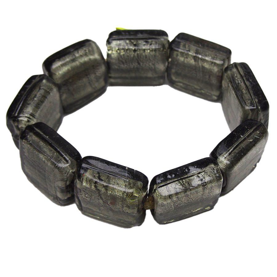 черна сива гривна от големи сегменти