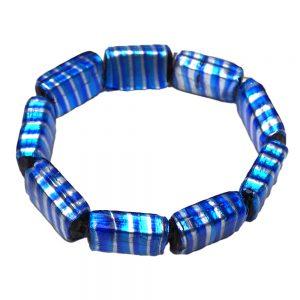 синя гривна от стъклени мъниста