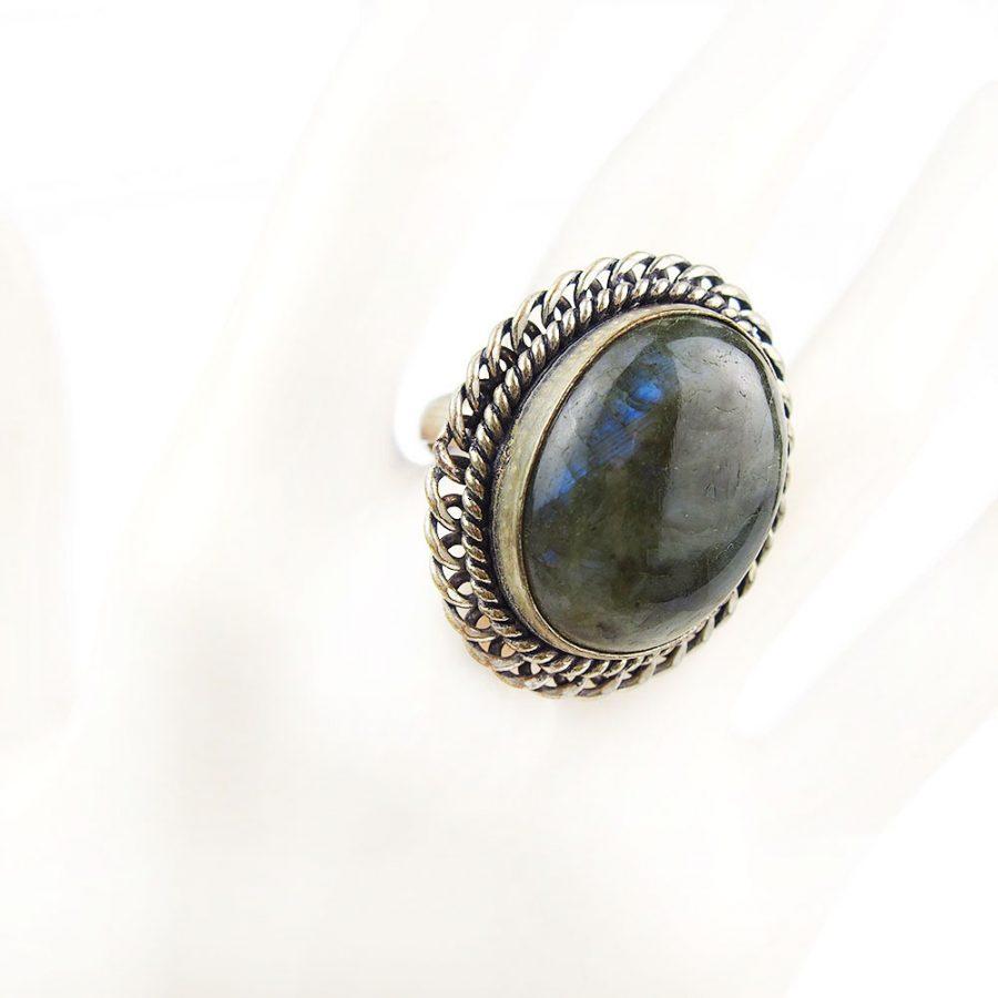 бохо пръстен с лабрадорит полускъпоченен камък с пламък