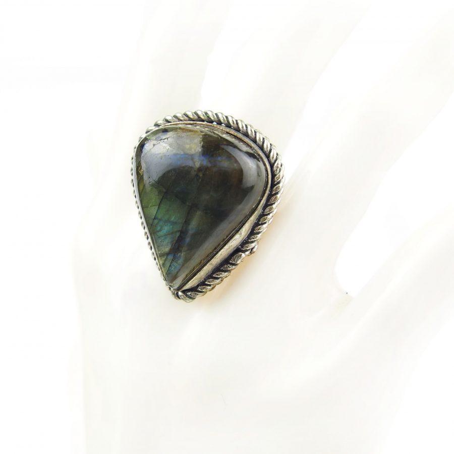 бохо пръстен с лабрадорит полускъпоченен камък с пламъкм