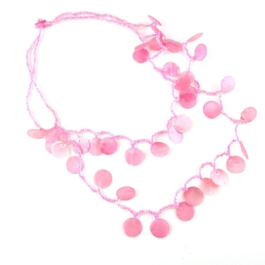 розов гердан с миди и мъниста